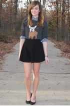 gray J Crew sweater - navy Gilly Hicks shirt - black American Apparel skirt