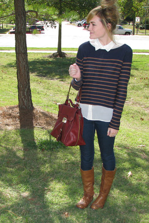 navy Forever 21 sweater - tawny boots - white collared Forever 21 shirt