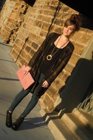 black litas Jeffrey Campbell heels - navy jeggings Forever21 jeans