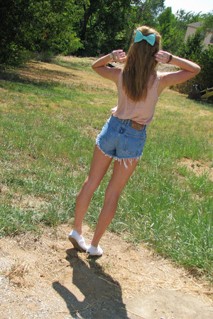 aquamarine bow American Apparel accessories - navy Thrifted diy shorts