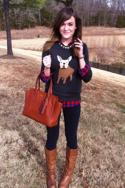 dark gray J Crew sweater - light brown The Buckle boots - red plaid J Crew shirt