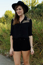 Black-h-m-hat-black-forever21-shorts-black-forever-21-top