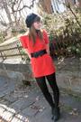 Orange-forever21-dress-black-hat-black-wal-mart-tights-black-forever21-sho