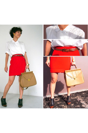 red skirt - white shirt - camel bag