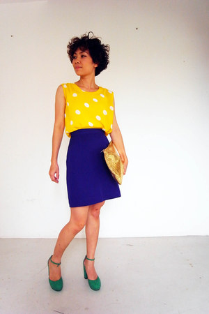 aquamarine shoes - H&M bag - deep purple skirt - yellow blouse