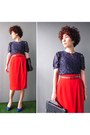 Navy-lace-blouse-blouse-red-pencil-skirt-skirt