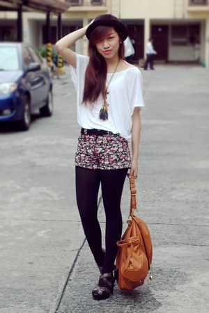 floral dept store shorts - snakeskin Michael Kors shoes - HK bag - Mango top