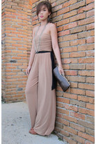 salmon suede Topshop shoes - dark brown crocoile skin Mango purse - tan wideleg