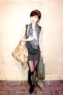 Green-mango-dress-mustard-prada-bag-black-salvatore-ferragamo-scarf-black-