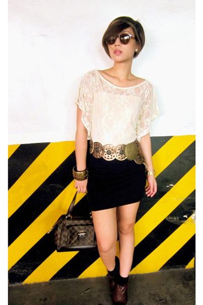 beige Glitterati top - gold BCBG belt - black Zara skirt - brown Louis Vuitton p