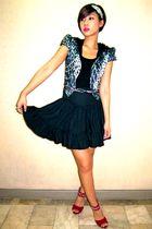 blue schizo blazer - black Topshop top - black Posionberry skirt - black Glitter