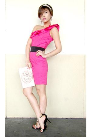hot pink Glitterati dress - ivory silk Audrey Bags purse - black LYN heels - bla
