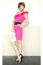 hot pink Glitterati dress - ivory silk Audrey Bags purse - black LYN heels - bla