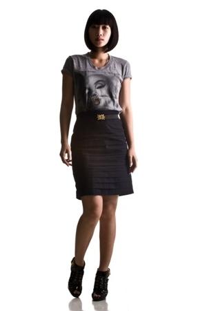GreyOne shirt - SM skirt - Urban Bazaar belt - zoo shoes