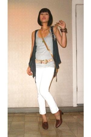 Promod vest - Topshop top - Grab jeans - Bally shoes - Hunterland purse - vintag