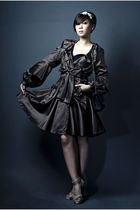 brown D&G coat - beige Burberry accessories - black H&M dress - Vintage Versace