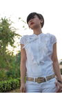 White-banna-republic-blouse-white-mango-jeans-gold-vintage-from-mom-belt