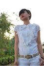White-banna-republic-blouse-white-mango-jeans-gold-vintage-from-mom-belt
