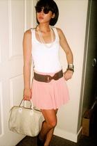 Topshop top - Zara belt - Folded n Hung skirt - Louis Vuitton purse - Syrup shoe