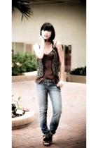 forever 21 top - Zara vest - Carbon belt - Hudson jeans - Anthem shoes