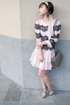 heather gray strappy H&M heels - light pink lace Topshop dress