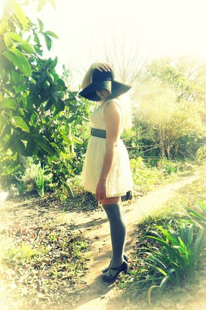 white tutu dress - black hat - heather gray over-the-knee socks - periwinkle bel