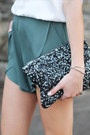 Dark-gray-sequin-clutch-zara-bag-olive-green-pinkyotto-shorts