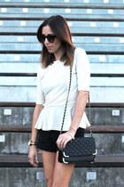 black shorts Zara shorts - black chain bag asos bag