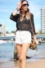 White-denim-cut-offs-vintage-shorts-black-shades-henry-holland-glasses