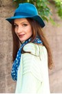 Teal-fedora-french-connection-hat-lime-green-knit-neon-jaeger-sweater