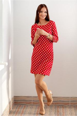 red polka dot dress Cortefiel dress - nude nude heels Cortefiel heels