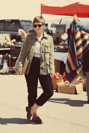 vintage purse - Gap jacket - H&M sunglasses - vintage top - thrifted pants