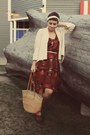 Bubble-gum-vintage-purse-urban-outfitters-dress-tuesday-morning-cardigan