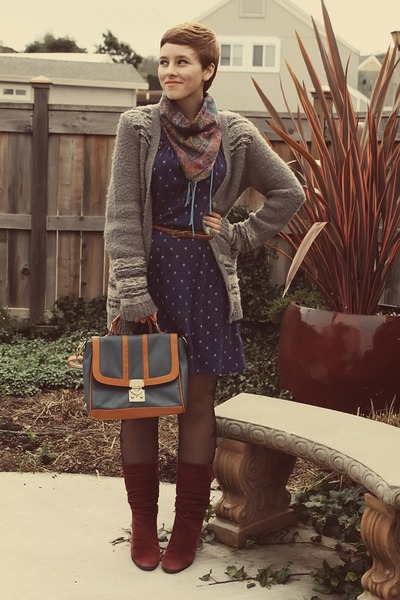 Goodwill boots - Forever 21 dress - leather Oasapcom purse