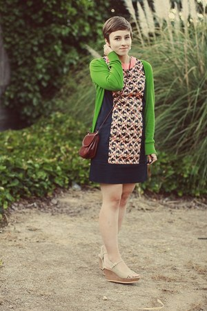 The Webster dress - vintage purse - Forever 21 cardigan - DSW wedges
