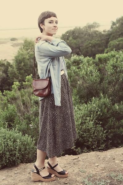 thrifted skirt - J Crew blouse - TJ Maxx wedges
