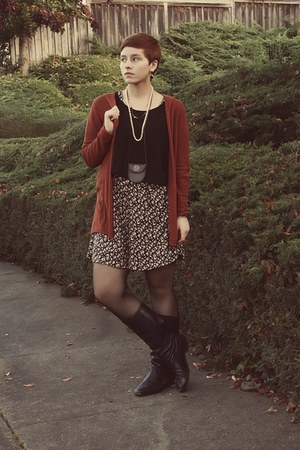 thrifted cardigan - vintage boots