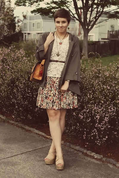 vintage top - TJ Maxx jacket - vintage purse - Forever 21 wedges