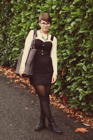 Marshalls boots - H&amp;M dress - vintage shirt - Marshalls bag