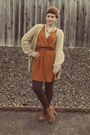 Urban-outfitters-boots-ruche-dress-goodwill-cardigan