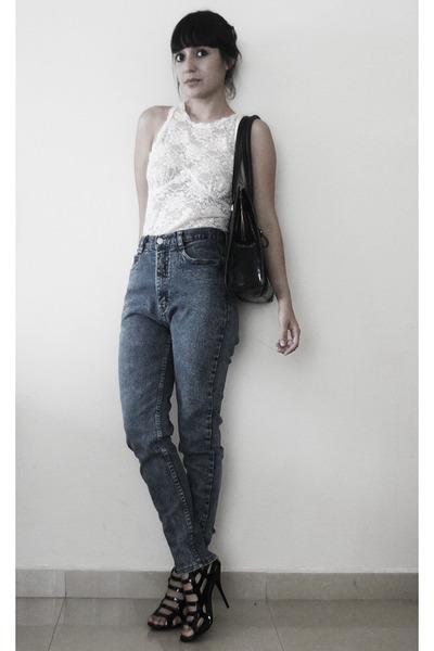 thrift blouse - jordache jeans - liz claiborne purse