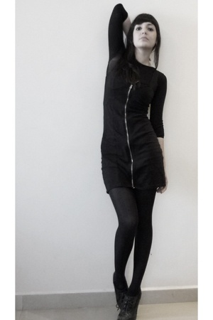 black zipper H&M dress - black