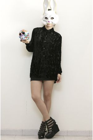 black skirt - black fete des morts blouse - black Jeffrey Campbell shoes