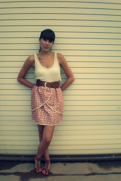 beige Loft top - pink made by me skirt - brown Ruche belt - brown TJ Max shoes