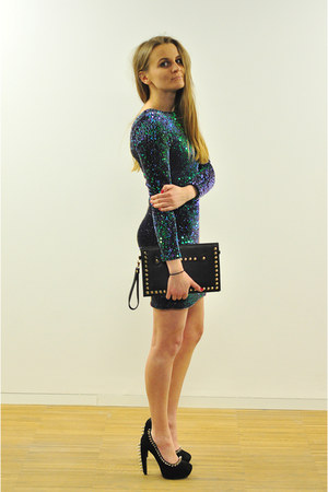 green sequins Motel Rocks dress - black Jeffrey Campbell heels