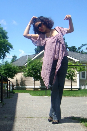 Jones New York sunglasses - Akoya necklace - Kimchi&Blue blouse - vintage pants