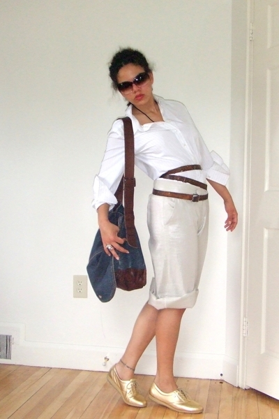 JCrew shirt - thriftedk belt - wd ny pants - Cole Haan sunglasses - gift accesso