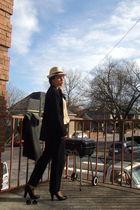 gray vintage coat - black emanuel ungaro blazer - beige vintage blouse - black L