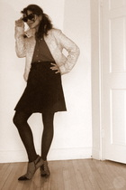 leather jacket - Silk shirt - gift skirt - Wool tights - franco sarto shoes - Ra