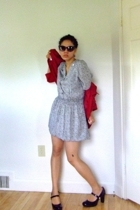 ann taylor jacket - thrifted dress - Betsey Johnson sunglasses - coach shoes